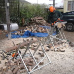 Sawing up logs ready to sell next Winter